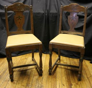 Set Of Two Oak Baroque Victorian William & Mary Tudor Style Side Dining Chairs photo