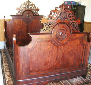 American Renaissance Carved Rosewood Bed Ca.  1860s photo