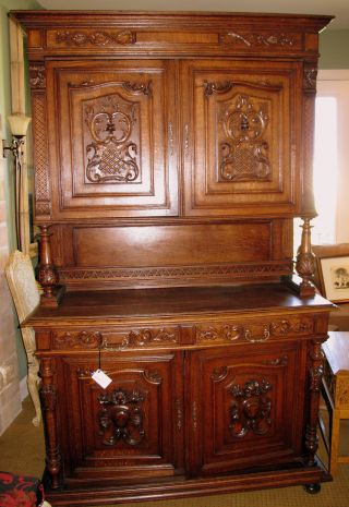 Beautifully Carved Antique French Hunt Cabinet (buffet/sideboard) photo