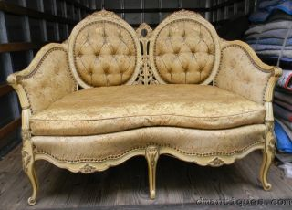 Antique French Louis Xv Carved Floral Gilt Painted Sofa Loveseat Canape Settee photo