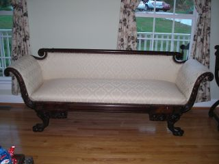 Chippendale Style Sofa With Cream Fabric Newly Restored And Upholstered photo