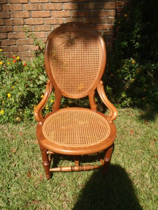 Antique Victorian Caned Oak Wooden Platform Spring Rocking Chair Estate photo