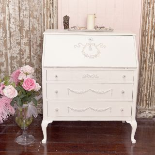 Shabby Cottage Chic White Secretary Writing Petite Desk French Style Roses Wow photo