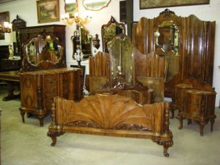Antique Country French Burl Walnut Six Piece Bedroom Set Fits Queen Bed photo