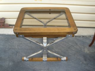 48905 Chrome And Wood Glass Top Mid Century Modern End Side Table photo