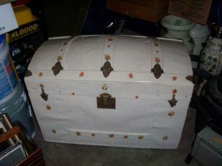 Antique Humpback Camel Back Trunk / Shabby Chest photo