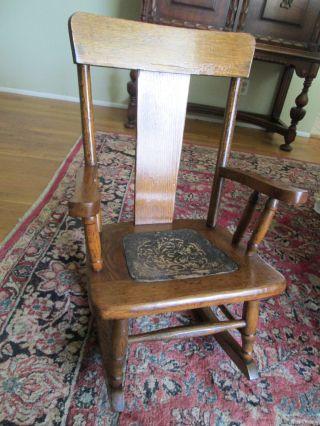 Antique Vintage Old Oak Wood Childrens Child ' S Rocking Chair photo