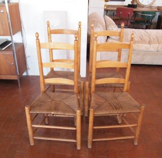 Antique Handmade Ladder Back Rush Seat Chair photo