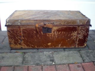 Antique Hide Covered Steamer Trunk Circa 1790 George Washington Era photo