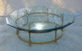 Hollywood Regency Swan Head Brass Coffee Table Mid Century Modern photo