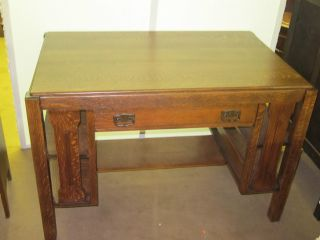 Antique Tiger Oak Mission Style Desk W/drawer Bookshelves On Sides 45 1/4