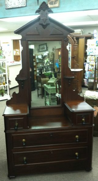 Victorian Drop Front Dresser With Mirror Circa 1870 photo