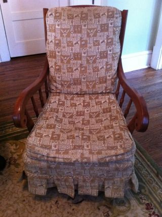 Antique Rocking Chair W/ Americana Fabric photo