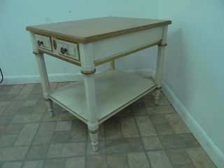 Heritage French Regency Lamp End Table Paint Decorated Carved Stand A photo
