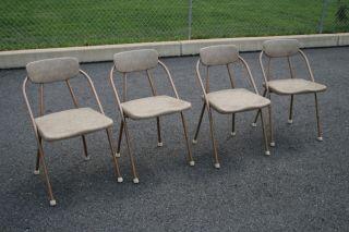 (4) Vtg 50s Cosco Hamilton Folding Chair Set Lot Retro Metal Mid Century Modern photo