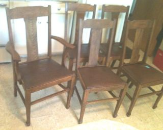 5 Vintage Victorian Tiger Oak T - Back Chairs From Canada - Leather Seats photo