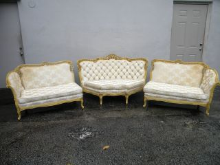 French Long Heavy Carved Tufted Divided Tripartite Couch / Sofa 2691 photo