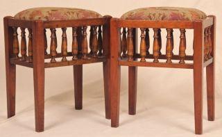 Pair Of Antique 20th Century Edwardian Needlepoint Stools Benches C.  1900 - 15 photo