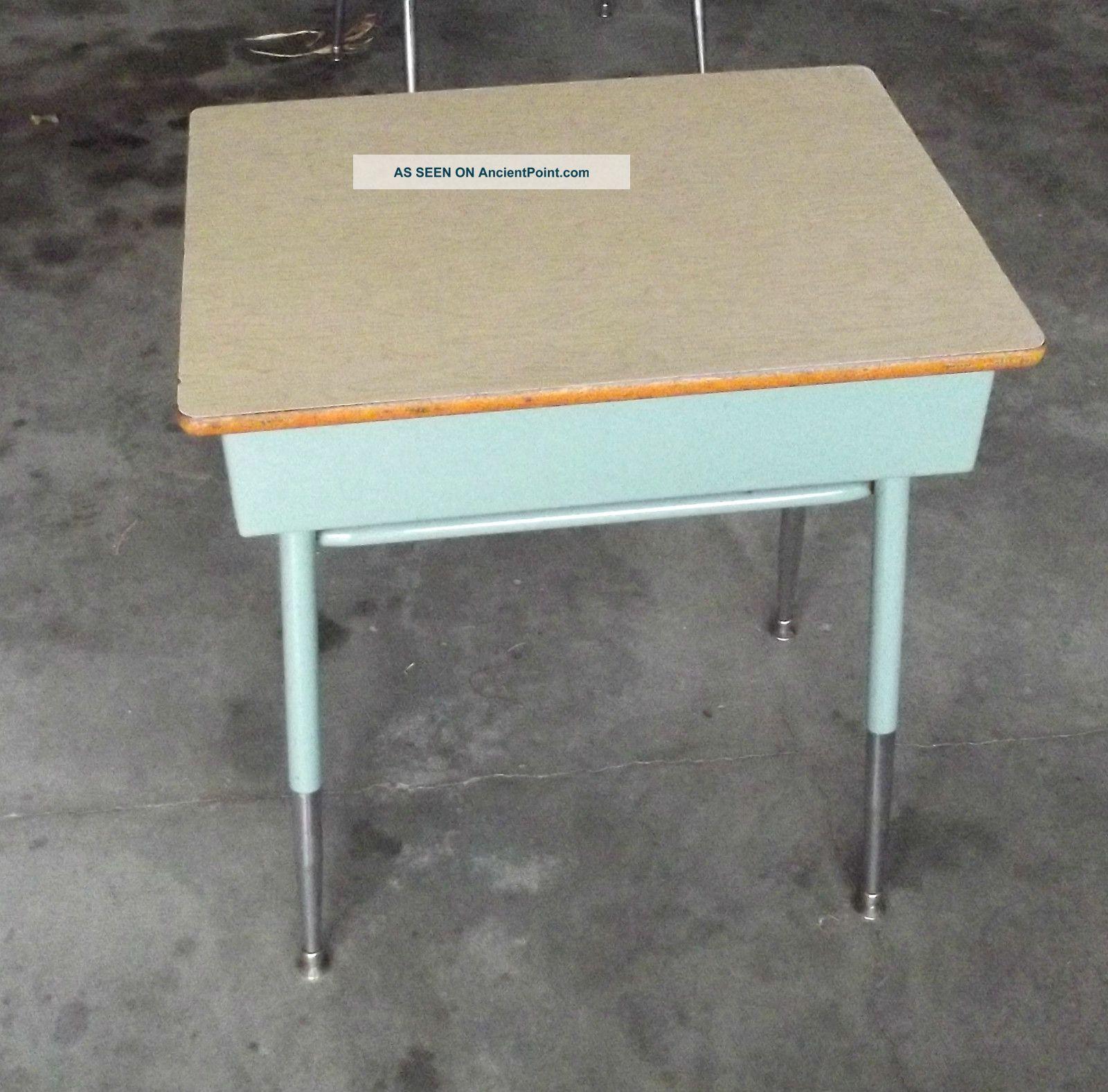 Old Metal School Desk Hostgarcia