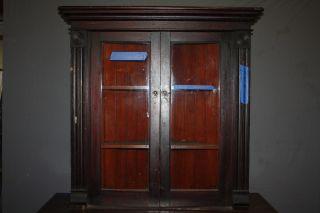 Antique American Corner Cabinet Upper Cupboard With Glass Doors photo
