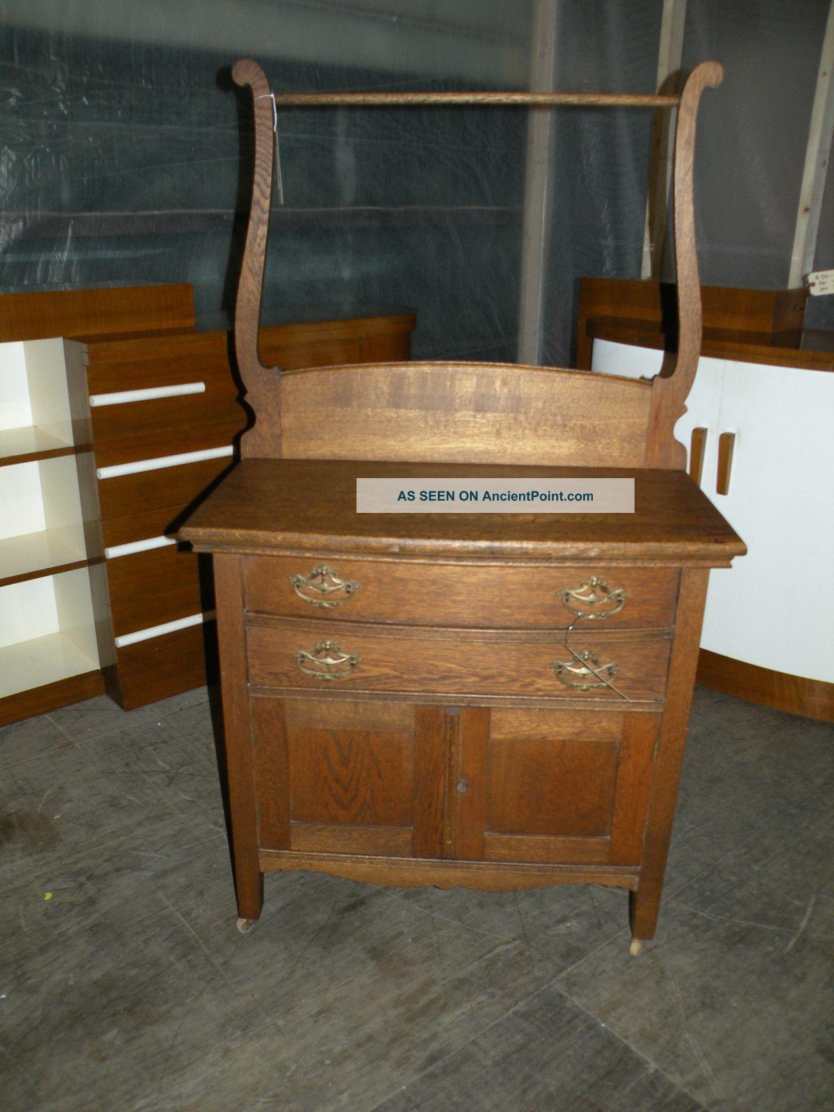 Antique Oak Bedroom Washstand Dresser Commode Furniture