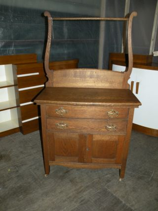Antique Oak Bedroom Washstand Dresser Commode Furniture photo