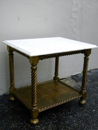 Mid Century Marble Top Gold Leaf Side Table photo