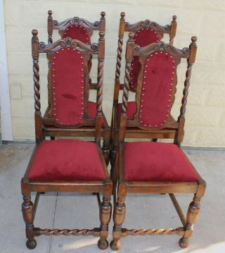 Set Of 4 English Antique Oak Barley Twist Upholstered Chairs. photo