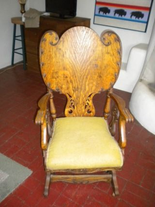 Carved Oak Platform Rocking Chair photo