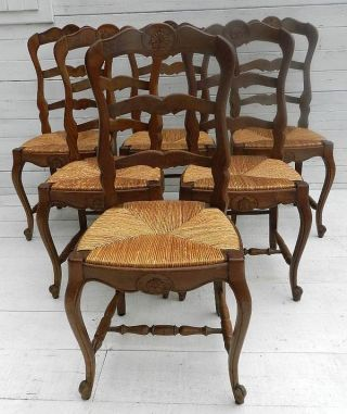 6 Early Vintage French Oak Dining Chairs Rush Ladder Back Farmhouse Kitchen Chic photo