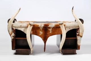 Art Deco Desk With Longhorns And Cowhide On Mahogany photo