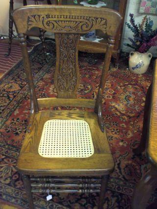Antique Oak Chair Pressback Cane Seat Refinished. photo