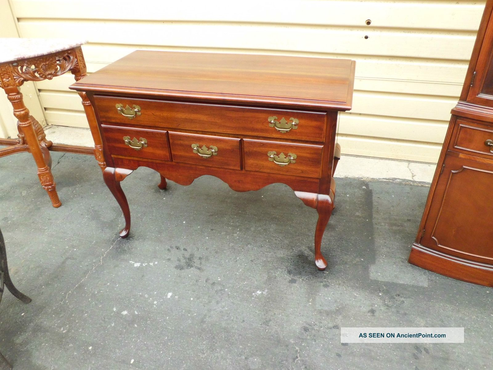 50587 Solid Cherry Queen Anne Low Boy Server Buffet Post-1950 photo