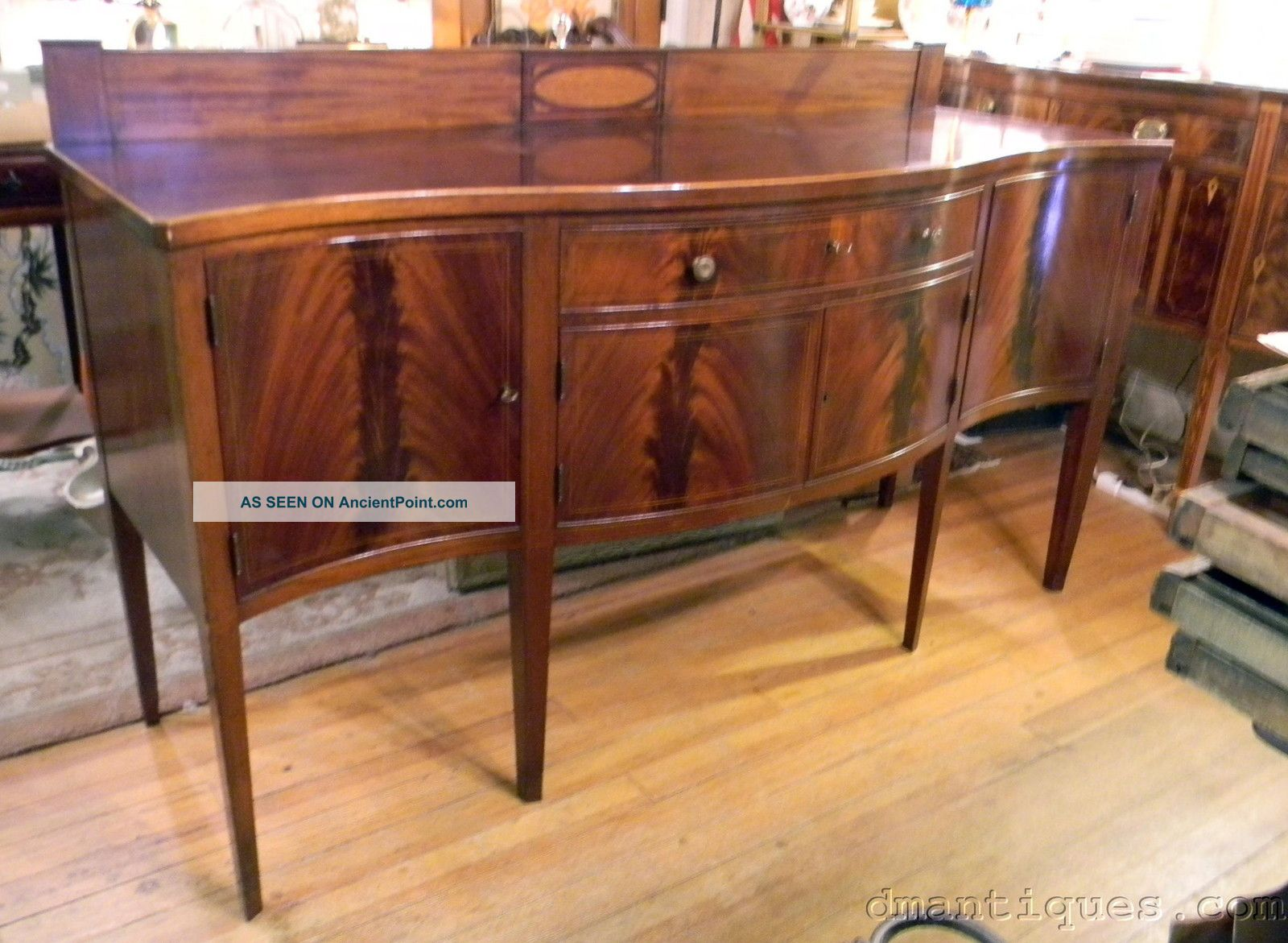Large Antique 19th Century Serpentine - Front Sideboard Inlaid Flame Mahogany 1800-1899 photo