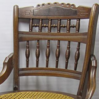 Eastlake Carved Victorian Chair With Hand Caned Seat,  Fancy Spindles photo