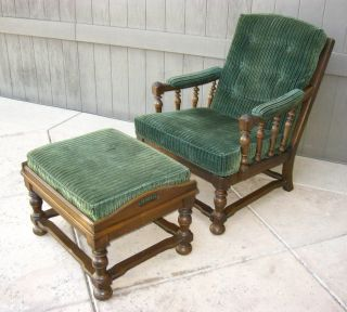 Vintage Ethan Allen Spanish Style Armchair And Ottoman With Green Velvet photo