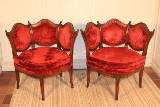 Pair Vintage Hollywood Regency Triple Back Parlor Chairs In Red Crushed Velvet photo