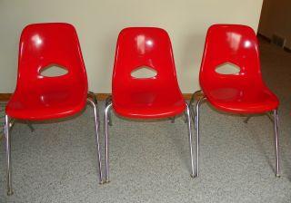 1 Vtg Orange - Red Krueger Fiberglass Side Shell Chair Retro 60s 70s Eames Era photo
