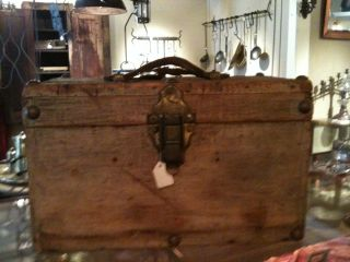 Early Antique Wooden Trunk With Leather Handle photo