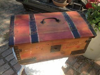 Hand Painted Old Wood Child Size Chest Trunk 1890 W Cast Iron Metal Hardware photo