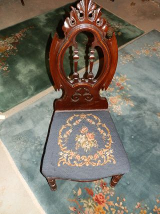 Gorgeous Carved Gothic High Back Victorian Antique Needlepoint Chair photo