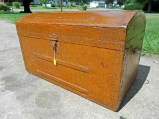 Antique Faux Leather Finished Dome Top Steamer Trunk photo