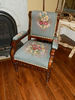 Amazing One Of A Kind Antique Victorian Needlepoint Parlour Chair photo