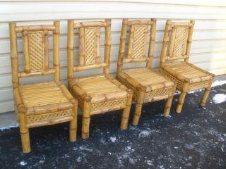 47648 Set 4 Adirondak Twig Bamboo Side Chairs Chair S photo