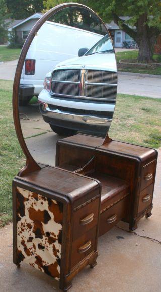 Vintage Western Waterfall Lowboy Vanity/wood Bed Frame Faux Cow Hide photo