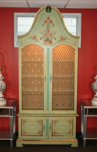 Antique John Widdicomb Green Paint Decorated French Display Curio China Cabinet photo