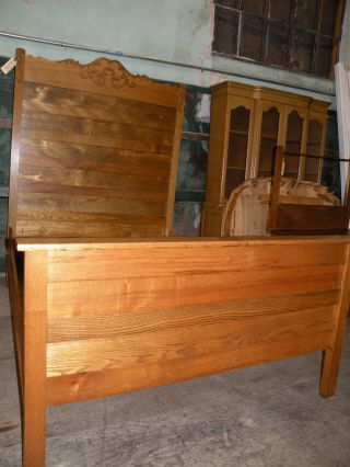 Antique Bedroom Furniture Oak Highback Full Queen Bed photo
