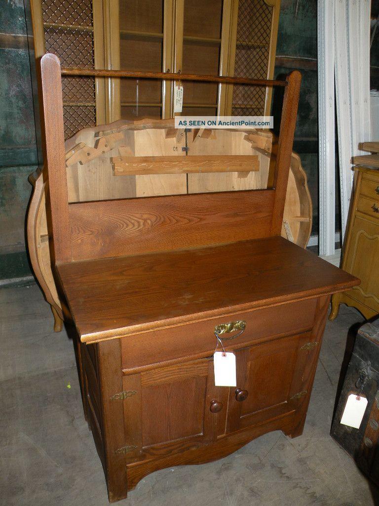 Antique Bedroom Furniture Oak Highback Full Queen Bed 1900 1950 Photo