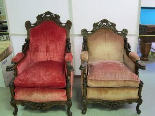 Pair Of Walnut Ornate French Master & Mistress Chairs Hand Carved Cabriole Legs photo