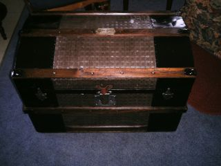 Vintage Antique Steamer Trunk / 1870 ' S / Hammered Brown / Restored photo